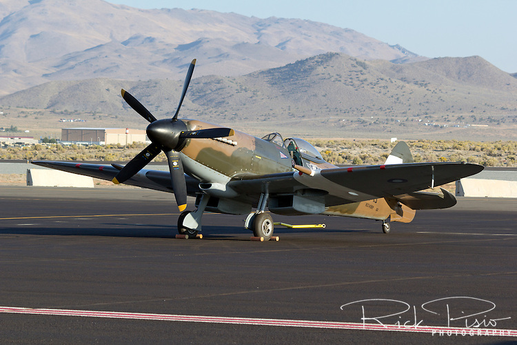 Mk. XIV Supermarine Spitfire sits on the tarmac at Stead Field in Nevada
