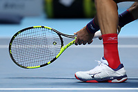 15th November 2019; 02 Arena. London, England; Nitto ATP Tennis Finals; Kevin Krawietz (GER) tight to the net for service in his doubles match with Andreas Mies (GER) - Editorial Use