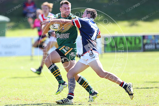 The Wyong Roos play Erina Eagles in Round 1 of the Reserve Grade Central Coast Rugby League Division at Morry Breen Oval on 2 April, 2015 in Kanwal, NSW Australia. (Photo by Paul Barkley/LookPro)