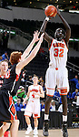 SIOUX FALLS, SD - MARCH 19: Deng Geu #32 from Washington shoots over Tye Evers #40 from Huron in the first half of their quarterfinal game Thursday afternoon during the Boys State AA Basketball Tournament at the Denny Sanford Premire Center in Sioux Falls, SD. (Photo by Dave Eggen/Inertia)
