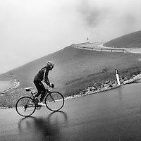 Ascending Passo Gardena, in the heart of the Dolomites, in the rain, Südtirol (South Tyrol), Italy