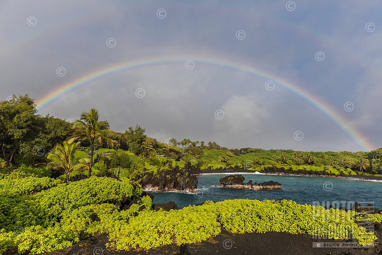 Wai'napanapa Bay, with black sand beach and double rainbow, road to Hana, Maui.