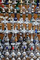Pattern in Hookah or waterpipes in sidewalk shop, Luxor, Egypt.