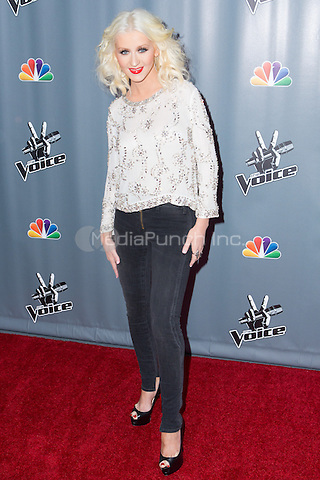 "UNIVERSAL CITY, CA - NOVEMBER 07: Recording Artist Christina Aguilera at NBC's ""The Voice"" Season 5 Top 12 in Universal City Plaza, on November 7th, 2013 in Universal City, California Photo Credt: RTNRossi / MediaPunch Inc."