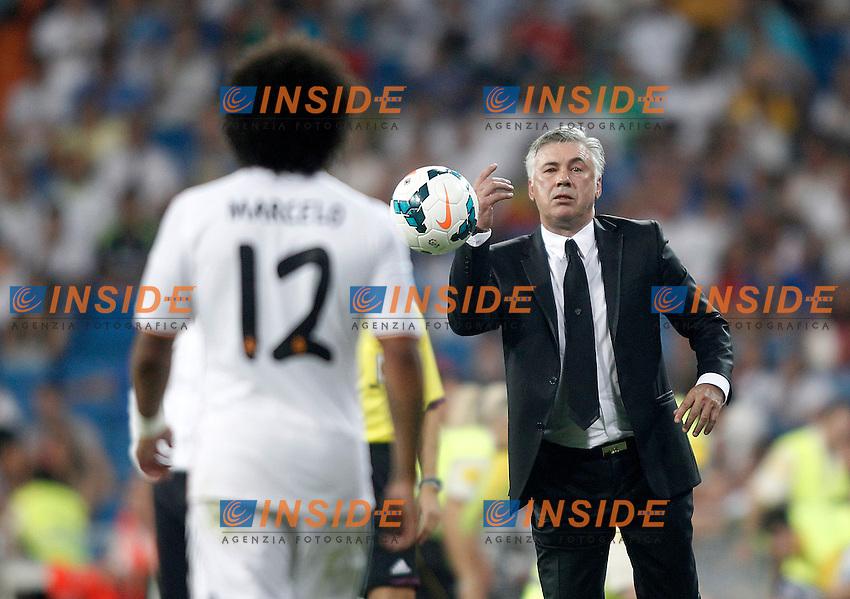 Real Madrid's coach Carlo Ancelotti with Marcelo Vieira during La Liga match.August 18,2013. (ALTERPHOTOS/Acero)<br /> Football Calcio 2013/2014 <br /> Spagna La Liga<br /> Foto Alterphoto / Insidefoto