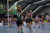 KORFBAL: GORREDIJK: Sport- en Ontspanningscentrum Kortezwaag, 27-11-2013, LDODK - AKC BLAUW WIT, Eindstand 25-28, Marjon Visser (#1   LDODK), ©foto Martin de Jong