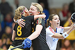 Mannheim, Germany, January 24: During the 1. Bundesliga Damen Hallensaison 2014/15 quarter-final hockey match between Mannheimer HC (white) and Harvestehuder THC (black) on January 24, 2015 at Irma-Roechling-Halle in Mannheim, Germany. Final score 2-3 (2-2). (Photo by Dirk Markgraf / www.265-images.com) *** Local caption *** Anabel Herzsprung #8 of Harvestehuder THC, Anne -Kathrin Deupmann #21 of Harvestehuder THC