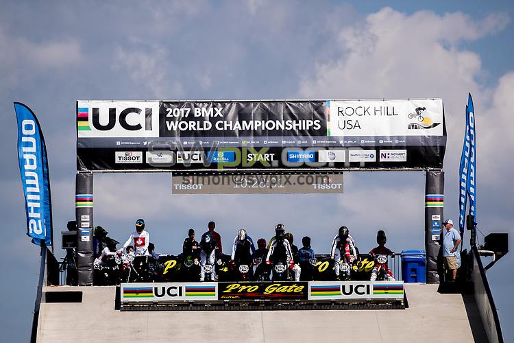 Picture by Alex Whitehead/SWpix.com - 29/07/2017 - Cycling - 2017 UCI BMX World Championships - Novant Health BMX Supercross Track, Rock Hill, USA - Brief. Shimano, Tissot. Pro Gate.