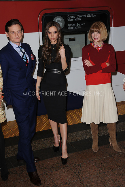 WWW.ACEPIXS.COM . . . . . February 15, 2012...New York City... Hamish Bowles, Victoria Beckham and Anna Wintour at the launch of the GREATCampaign and the inaugural run of New York's GREAT underground train at Grand Central Station's 42nd Street subway shuttle on February 15, 2012 in New York City....Please byline: KRISTIN CALLAHAN - ACEPIXS.COM.. . . . . . ..Ace Pictures, Inc: ..tel: (212) 243 8787 or (646) 769 0430..e-mail: info@acepixs.com..web: http://www.acepixs.com .