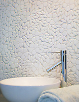 Jacqueline, a natural stone waterjet mosaic backsplash shown in tumbled Thassos, is part of the Silk Road Collection by Sara Baldwin for New Ravenna Mosaics. Take the next step: prices, samples and design help, http://www.newravenna.com/showrooms/