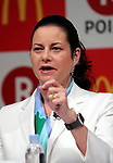 May 26, 2017, Tokyo, Japan - McDonald's Japan president Sarah Casanova speaks as McDonald's and Japanese online commerce giant Rakuten announce that Rakuten's point service can be used at McDonald's restaurants in Japan from June 1 at a press conference in Tokyo on Friday, May 26, 2017.   (Photo by Yoshio Tsunoda/AFLO) LwX -ytd-