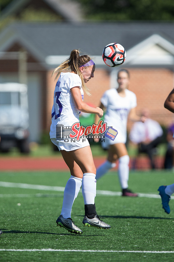Meg Kowalski (33) of the High Point Panthers heads the ball during first half action against the Appalachian State Mountaineers at Vert Track, Soccer & Lacrosse Stadium on August 26, 2016 in High Point, North Carolina.  The Panthers defeated the Mountaineers 2-0.  (Brian Westerholt/Sports On Film)