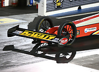 Jul 21, 2017; Morrison, CO, USA; Detailed view of the front wheels and wing on the dragster of NHRA top fuel driver Doug Kalitta during qualifying for the Mile High Nationals at Bandimere Speedway. Mandatory Credit: Mark J. Rebilas-USA TODAY Sports