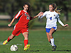 Rachel Rosenberg #24 of Syosset, left, gets pressured by Jenna Stankes #4 of East Meadow during a Nassau County Class AA varsity girls soccer quarterfinal at East Meadow High School on Tuesday, Oct. 25, 2016. Rosenberg scored the first of Syosset's two goals 90 seconds into the match. The Lady Braves went on to win 2-1.