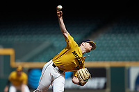 Missouri Tigers starting pitcher Konnor Ash delivers a pitch to the plate against the Oklahoma Sooners in game four of the 2020 Shriners Hospitals for Children College Classic at Minute Maid Park on February 29, 2020 in Houston, Texas. The Tigers defeated the Sooners 8-7. (Brian Westerholt/Four Seam Images)