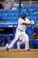 Dunedin Blue Jays designated hitter D.J. Davis (6) at bat during a game against the Fort Myers Miracle on April 17, 2018 at Dunedin Stadium in Dunedin, Florida.  Dunedin defeated Fort Myers 5-2.  (Mike Janes/Four Seam Images)