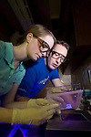 0702-12.David Kooyman Lab.Laurel Tegland, Mike Moss..February 6, 2007..Photography by Mark A. Philbrick..Copyright BYU Photo 2007.All Rights Reserved .photo@byu.edu  (801)422-7322