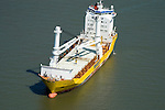 Aerial view of Big lift Tanker in the Delaware River