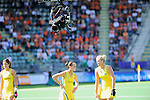 The Hague, Netherlands, June 12: Players of Australia line up for a penalty corner with the spyder cam over them during the field hockey semi-final match (Women) between USA and Australia on June 12, 2014 during the World Cup 2014 at Kyocera Stadium in The Hague, Netherlands. Final score after full time 2-2 (0-1). Score after shoot-out 1-3. (Photo by Dirk Markgraf / www.265-images.com) *** Local caption *** Anna Flanagan #9 of Australia, Madonna Blyth #12 of Australia, Jodie Kenny #7 of Australia