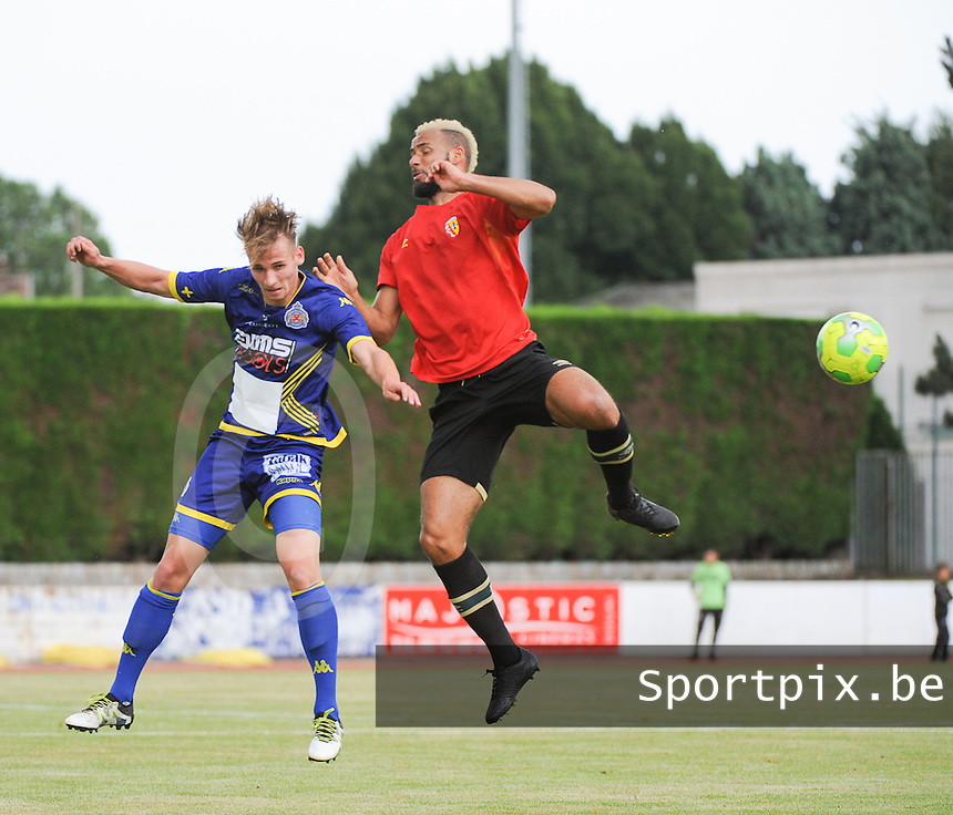 20160713 - DOUAI , FRANCE : RC Lens' John Bostock (R) and Waasland Beveren's Olivier Myny (L) pictured during a friendly game between Racing Club de LENS and Waasland Beveren during the preparations for the 2016-2017 season , Wednesday 13 July 2016 ,  PHOTO Dirk Vuylsteke | Sportpix.Be