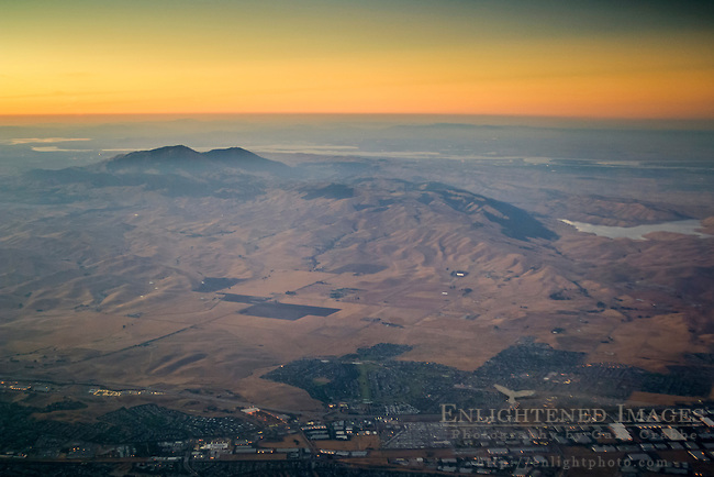Aerial view of Mount Diablo and the Diablo Range foothills at sunset, Contra Costa County, California