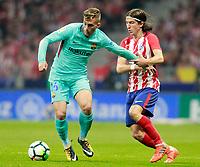 Atletico de Madrid's Filipe Luis (r) and FC Barcelona's Gerard Deulofeu during La Liga match. October 14,2017.  *** Local Caption *** © pixathlon<br /> Contact: +49-40-22 63 02 60 , info@pixathlon.de