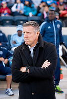 Sporting Kansas City head coach Peter Vermes watches his team before a Major League Soccer game at PPL Park in Chester, PA. Sporting Kansas City defeated the Philadelphia Union, 2-1.