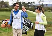 29th September 2017, Windross Farm, Auckland, New Zealand; LPGA McKayson NZ Womens Open, second;  Spain's Belen Mozo celebrates her hole in one on the 13th tee with her caddie Carlos Lopez