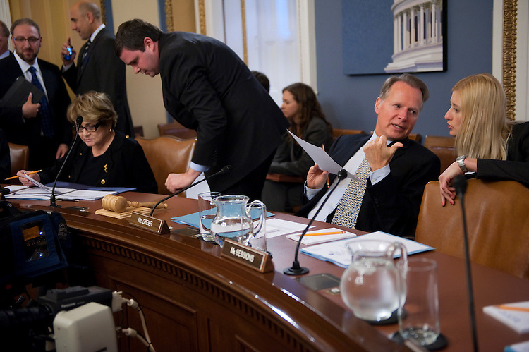 """WASHINGTON, DC - July 26: Ranking member Louise M. Slaughter, D-N.Y., and Chairman David Dreier, R-Calif., before the House Rules meeting to consider HR 2587, the """"Protecting Jobs From Government Interference Act,"""" and S 627, the """"Faster FOIA Act of 2011."""" (Photo by Scott J. Ferrell/Congressional Quarterly)"""