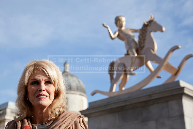 23/02/2012. LONDON, UK. Actress Joanna Lumley today (23/02/12) in Trafalgar Square after unveiling, Elmgreen and Dragset's 'Powerless Structures, Fig. 101' replaces the previous sculpture of a ship in a bottle on the famous Fourth Plinth. Photo credit: Matt Cetti-Roberts