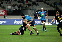 Akira Ioane in action during the Super Rugby match between the Blues and Highlanders at Eden Park in Auckland, New Zealand on Friday, 20 April 2018. Photo: Niels Schipper / lintottphoto.co.nz