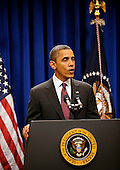 United States President Barack Obama makes a statement to the press regarding the US-Korea Trade Agreement, in the Old Executive Office Building on Saturday, December 4, 2010, in Washington, DC.  .Credit: Leslie E. Kossoff - Pool via CNP
