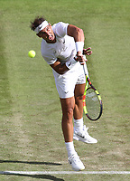 Rafael Nadal (ESP) during his match against Yuichi Sugita (JPN) in their Gentleman's Singles First Round match<br /> <br /> Photographer Rob Newell/CameraSport<br /> <br /> Wimbledon Lawn Tennis Championships - Day 2 - Tuesday 2nd July 2019 -  All England Lawn Tennis and Croquet Club - Wimbledon - London - England<br /> <br /> World Copyright © 2019 CameraSport. All rights reserved. 43 Linden Ave. Countesthorpe. Leicester. England. LE8 5PG - Tel: +44 (0) 116 277 4147 - admin@camerasport.com - www.camerasport.com