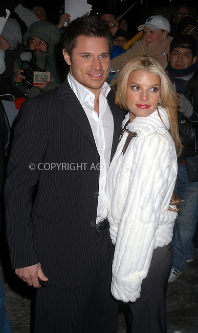Jessica Simpson and husband Nick Lachey posed for photographers and signed for fans as they arrived at the 'Late show with David Letterman', New York City, January 19 2004. Please byline: AJ SOKALNER/NY Photo Press.   ..*PAY-PER-USE*      ....NY Photo Press:  ..phone (646) 267-6913;   ..e-mail: info@nyphotopress.com