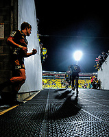 Damien McKenzie follows his Chiefs teammates out during the Super Rugby match between the Hurricanes and Chiefs at Westpac Stadium in Wellington, New Zealand on Friday, 13 April 2018. Photo: Dave Lintott / lintottphoto.co.nz