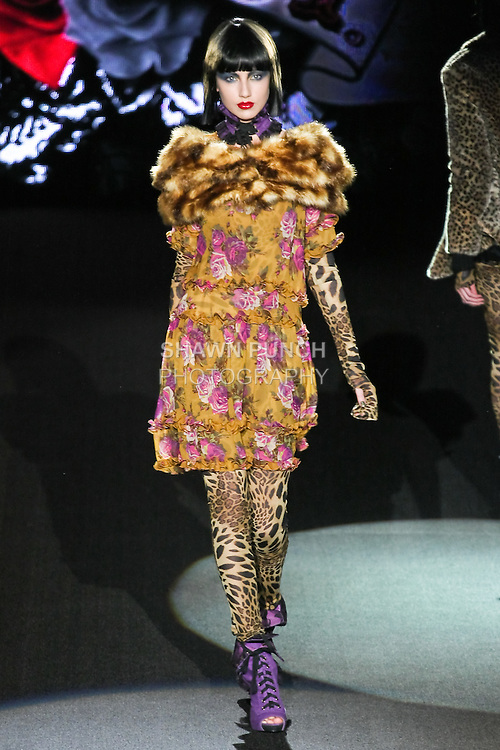 Kseina walks runway in a Heart of Gold outfit, from the Betsey Johnson Fall 2011 He Loves Me Not - Black Tag collection, during Mercedes-Benz Fashion Week Fall 2011.