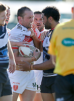 Mark Ioane (R) of London squares up to Shaun Lunt during the Super 8 Qualifying game between London Broncos and Hull Kingston Rovers at Ealing Trailfinders, Ealing, on Sun Sept 11, 2016