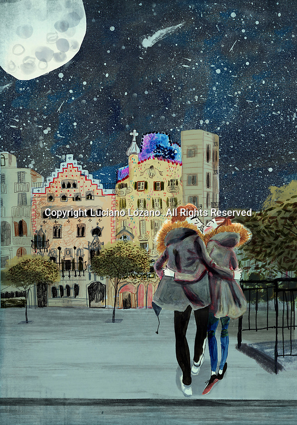 Young couple kissing in romantic square in Barcelona in moonlight