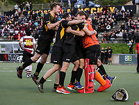 Capital players celebrate winning the mens final v North Harbour. National Hockey League Finals Day action, National Hockey Stadium, Wellington, New Zealand. Sunday 23 September 2018. Photo: Simon Watts/www.bwmedia.co.nz/Hockey NZ