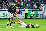 Solna 2015-04-26 Fotboll Allsvenskan AIK - &Ouml;rebro SK :  <br /> AIK:s Nabil Bahoui har f&aring;tt kramp och f&aring;r hj&auml;lp av Henok Goitom under matchen mellan AIK och &Ouml;rebro SK <br /> (Foto: Kenta J&ouml;nsson) Nyckelord:  AIK Gnaget Friends Arena Allsvenskan &Ouml;rebro &Ouml;SK skada skadan ont sm&auml;rta injury pain