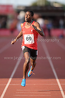 International athletics at Cardiff International stadium, Cardiff, South Wales - Tuesday 15th July 2014<br /> <br /> Adebowale Ademuyemo of City of Manchester AAC wins the Men's 400m 'B' race. <br /> <br /> <br /> Photo by Jeff Thomas Photography