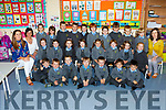 Cullina NS junior infants with their teachers Elaine McGuire and Lisa Stack and Siobhan O'Shea SNA on their first day of school on Wednesday