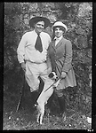 FB-S181,  Jack and Charmian London with possum at Beauty Ranch in 1915, back of FB-S181