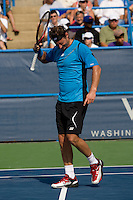 David Nalbandian takes his frustration out on his head after losing a point during the Legg Mason Tennis Classic at the William H.G. FitzGerald Tennis Center in Washington, DC.  David Nalbandian defeated Marcos Baghdatis in straight sets in the finals Sunday afternoon.