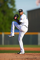 Lakeland Flying Tigers starting pitcher Endrys Briceno (45) delivers a pitch during a game against the Tampa Yankees on April 7, 2016 at Henley Field in Lakeland, Florida.  Tampa defeated Lakeland 9-2.  (Mike Janes/Four Seam Images)