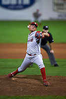 Williamsport Crosscutters pitcher Alejandro Arteaga (30) delivers a pitch during a game against the Batavia Muckdogs on August 28, 2015 at Dwyer Stadium in Batavia, New York.  Batavia defeated Williamsport 6-0.  (Mike Janes/Four Seam Images)