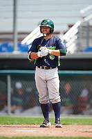 Vermont Lake Monsters second baseman Nate Mondou (6) at bat during a game against the Auburn Doubledays on July 13, 2016 at Falcon Park in Auburn, New York.  Auburn defeated Vermont 8-4.  (Mike Janes/Four Seam Images)
