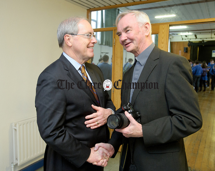 Kevin O'Malley, U.S. Ambassador to Ireland chats with Fr. John Jones, former President of St. Flannan's following the ambassador's visit to the school. Photograph by John Kelly.