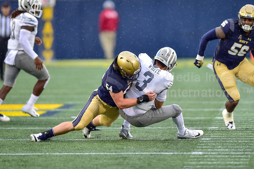 Annapolis, MD - September 8, 2018: Navy Midshipmen linebacker Taylor Heflin (54) sacks Memphis Tigers quarterback Brady White (3) during game between Memphis and Navy at  Navy-Marine Corps Memorial Stadium in Annapolis, MD. (Photo by Phillip Peters/Media Images International)