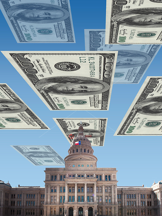 Texas State Capitol with floating one hundred dollar bills; US currency, prosperity outlook, digital composite illustration color digital image